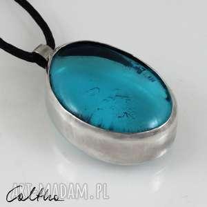 ręczne wykonanie wisiorki błękit w srebrze - srebrny wisior 171218 -01