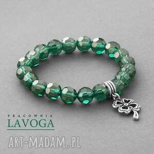 crystal with pendant in emerald - koniczynka