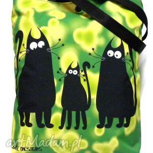 ręcznie wykonane na ramię torba napę z kotami