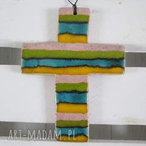 kolorowy krzyżyk ceramiczny, na komunię, prezent, komunijny, chrzest, krzyż