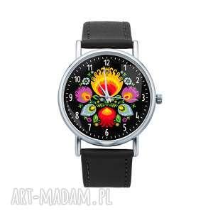 zegarki zegarek z grafiką kocham łowicz, folk, etniczny, folklor, kwiaty