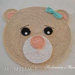 Dywan Miś kremowy - brzoskwinia i mięta 100cm, dziecko, dywan, miś, dywaniak