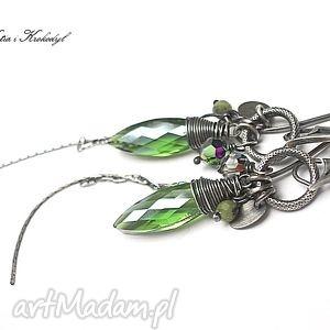 kolczyki jungle - kolczyki, srebro, długie, szkło, swarovski biżuteria