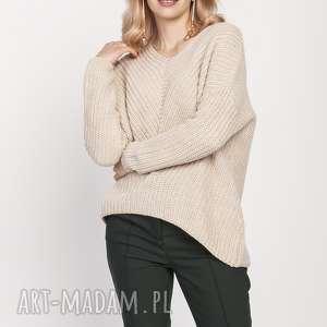 swetry asymetryczny sweterek, swe191 beż mkm, sweter, beige, jesień, zima