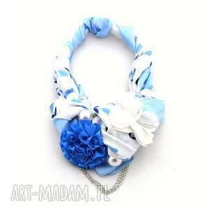 blue curacao naszyjnik handmade - naszyjnik, kolia, wisior, błękit, niebieski