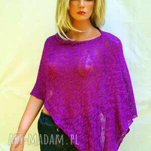 ręcznie robione poncho bawełniane letnie fioletowe ponczo