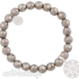 srebrna bransoletka hematyt z orientalną rozetą fashion - fasetowany