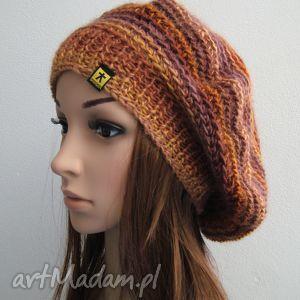obszerna bereto-czapka w rudościach - czapka, beret, ciepła, dzianina, ręcznie