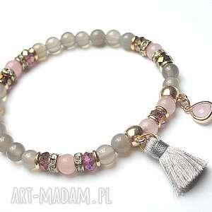 kolekcja rich boho - pink 12 10 15 , agaty, boho, chwost, kryształki bransoletki