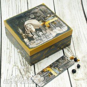 herbaciarka szkatułka- nyc z zakładką, szkatułka, new, york, pudełko, drewniane