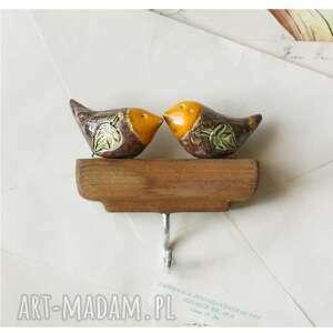 wieszaczek z 2 rudzikami, ceramika, wieszak, drewno, ptaszek, rudzik wieszaki