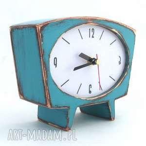 turkusowy zegar drewniany sixty, drewno, prezent świąteczny, biurkowy