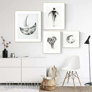 zestaw 4 grafik wykonanych ręcznie, grafika czarno-biała, abstrakcja, 2604267