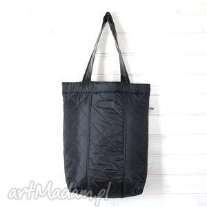 Prezent Czarna pikowana torba shopperka, pikowana, torba, pojemna, duża, pik, prezent