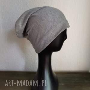 hand-made czapki czapka szara dziecięca dzianina na podszewce box 01,wymiary 54 -55cm