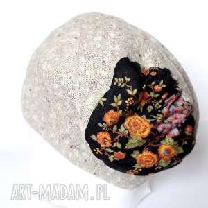 czapka damska kolor lnu i kwiaty, czapka, len, retro, damska, prezent