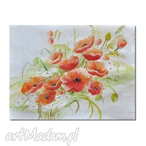 obrazy maki, kwiaty polne, nowoczesny obraz ręcznie