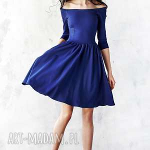 granatowa sukienka hiszpanka, sukienka, midi, rozkloszowana