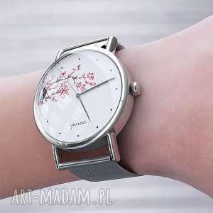 zegarek, bransoletka - kwitnąca wiśnia metalowy, bransoleta, metalowa