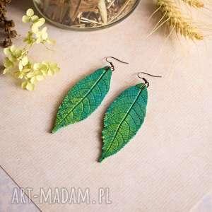 zielone kolczyki liście, kolczyki, dla niej
