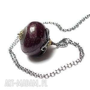 rubin gigant vol 2 - naszyjnik - srebro oksydowane, pozłacane, rubin, granat, kula