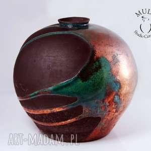 Wazon RAKU TĘCZA, ceramika, technika-raku, wazon, ceramika-artystyczna, krakle