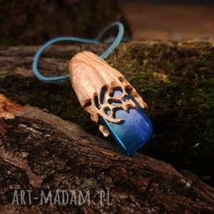 Wisior drewno i żywica Crownwork in Wood [Druid s], naturalny, organiczny, boho