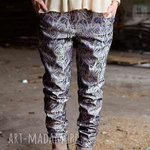 żakardowe metaliczne spodnie z lampasem, żakardowe, metaliczne, złoty, lampas