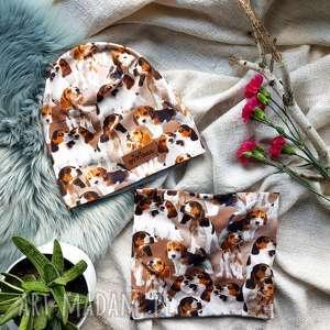 hand-made czapki zestaw pieski komin czapka beagle