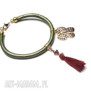 Strap - JARZĘBINKI bransoletka, skóra, rzemień, cyrkonie, chwost