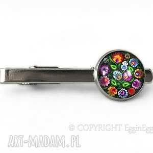 Ludowe kwiaty - Spinka do krawata - ,ludowe,folk,łowickie,spinka,krawata,prezent,
