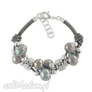Grapes bracelet - grey., ceramika, rzemień