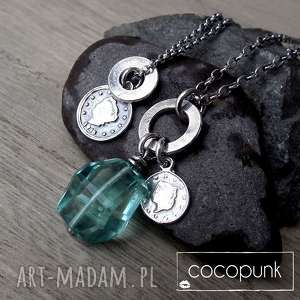 naszyjniki 2 srebrne- z zawieszkami i kwarcem, zestaw-naszyjników