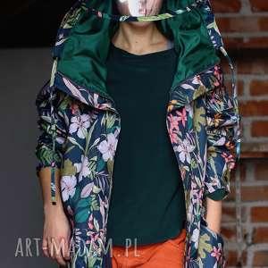 handmade kurtki przeciwdeszczowa grafitowa kwiaty