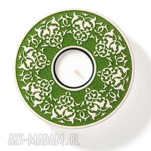 Prezent lampion ROŚLINNY ciemno-zielony w pudełku, lampion, ceramiczny, świecznik