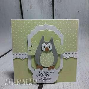 zaproszenie kartka elegancka sowa w zieleni - zaproszenie, urodziny, chrzest, sesja