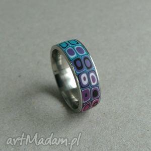 obrączka ze stali z fimo - pierścionki, obrączki, kolorowe, retro