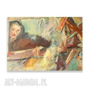ręcznie malowany obraz olejny, duży na płótnie, dziewczyna olej płotno