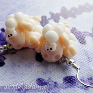 handmade kolczyki kolczyki białe leżące owieczki
