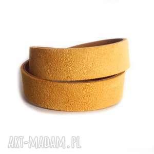 bransoletka skórzana żółta zamszowa owijana, marigold, zamsz