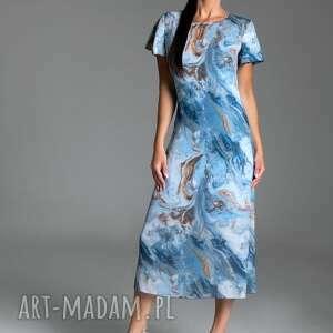 długa letnia sukienka trapezowa z szyfonu w kolorze niebieskim - kolekcja