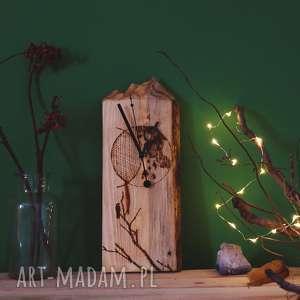 Drewniany zegar ścienny [góry i pirografia], drewno, księżyc, góry, kruk, drzewo