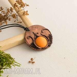 Prezent Wisior boho z pomarańczową ceramiką, wisior, boho, ceramika, polymerclay