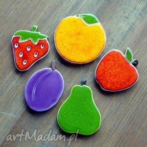 ręcznie wykonane magnesy ceramiczne owoce na magnes