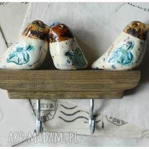 wieszaczek z kolorowymi ptaszkami na klucze, ceramika, wieszak, ptak
