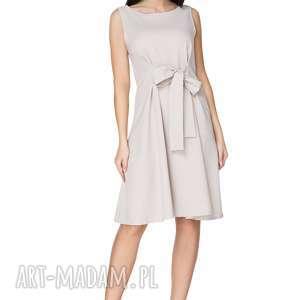 sukienki sukienka 2w1 wiązana na kokardę t230, jasnoszara