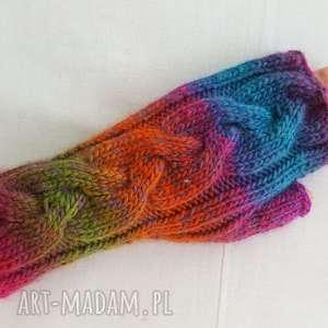 rękawiczki tęczowe niebiańsko - różowe, kolorowe, modne, ciepłe