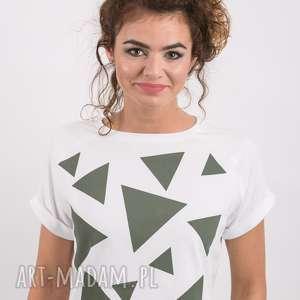 T-SHIRT - KOSZULKA TRIANGLE MESS KHAKI, biała, koszulka, t-shirt, bawełna, trójkąty