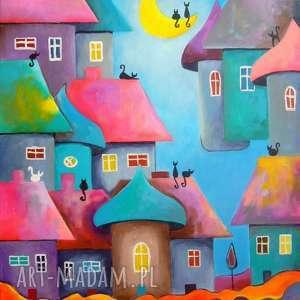 obraz na płótnie - bajkowe miasteczko 50/40 cm, miasteczko, fiolet, akryl, turkus
