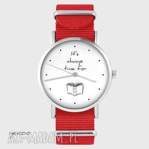 zegarki zegarek - it is always time for a book czerwony, nato